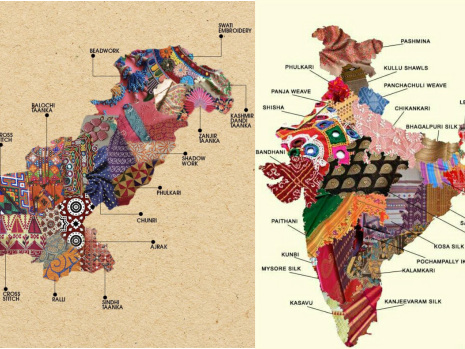Artistic Maps of Pakistan & India Show the Embroidery Techniques of Their Different Regions