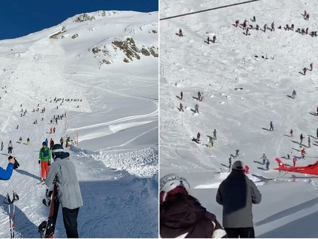 Rescuers are searching a Swiss ski trail for survivors after an avalanche swept through and injured at least 2 people