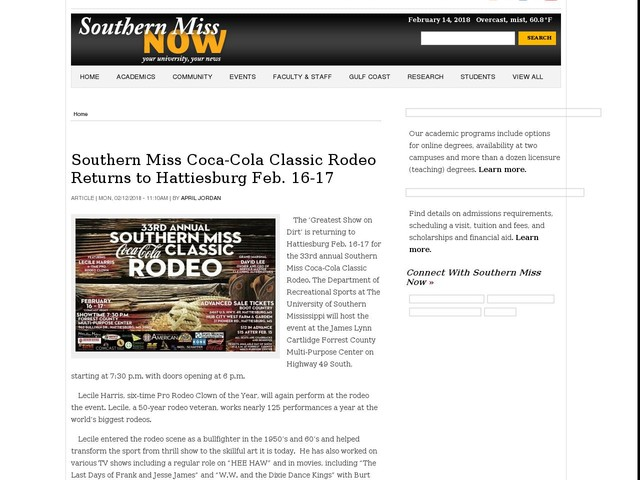 Southern Miss Coca-Cola Classic Rodeo Returns to Hattiesburg Feb. 16-17