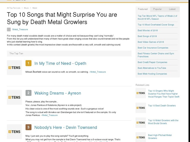 Top 10 Songs that Might Surprise You are Sung by Death Metal Growlers