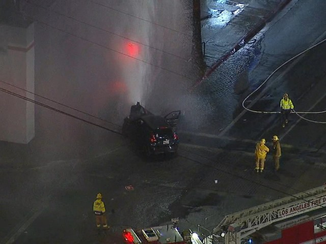 9 injured after vehicle shears fire hydrant in Canoga Park