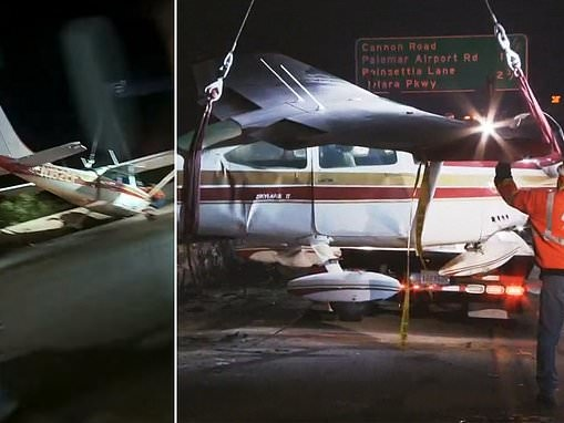 Cessna use California Interstate 5 as a runway when pilot is forced to make an emergency landing