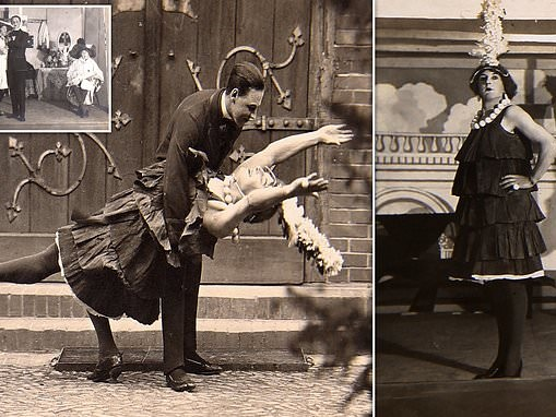 PoW pin-ups: Fascinating WW1 pictures show troops in drag to boost morale at German camp camp