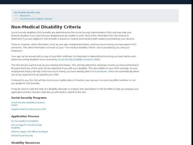 Non-Medical Disability Criteria