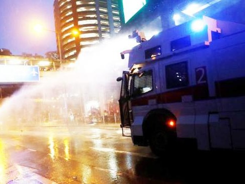Hong Kong Rolls Out Water Cannons After Protesters Hurl Bricks And Fire Bombs
