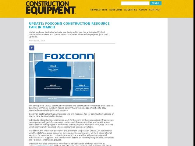 Update: Foxconn Construction Resource Fair in March