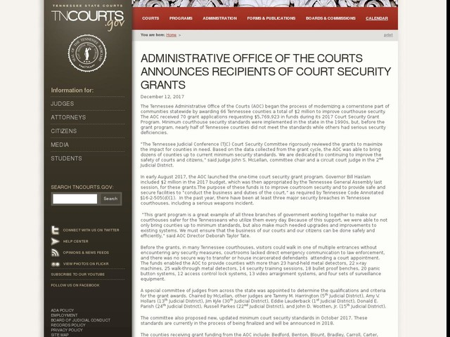 Administrative Office of The Courts Announces Recipients of Court Security Grants