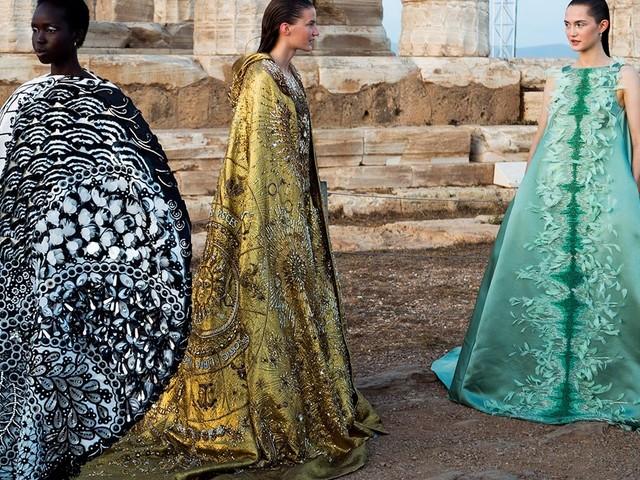 Mary Katrantzou SS20 show at Greece's Temple of Poseidon