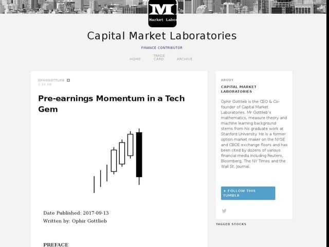Pre-earnings Momentum in a Tech Gem