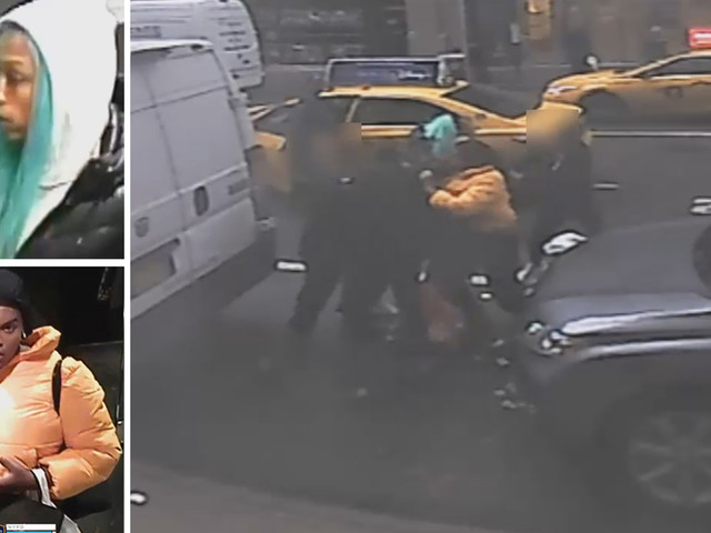 Accused female shoplifters caught on camera brawling in street with Barneys workers