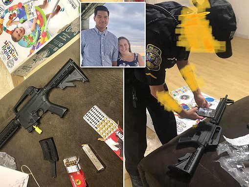 Couple is shocked to find loaded ASSAULT RIFLE in box of baby bouncer bought at a Florida Goodwill
