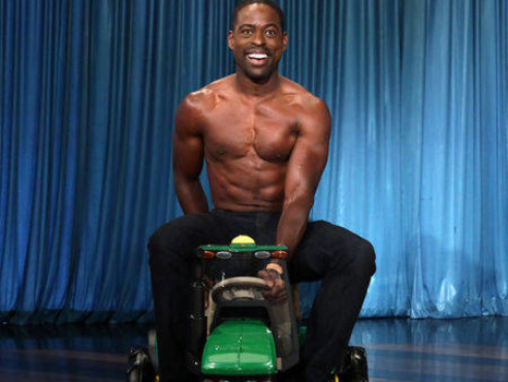 Sterling K. Brown Bares His Amazing Abs While Riding a Toy Tractor on The Ellen DeGeneres Show