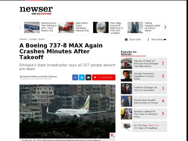 A Boeing 737-8 MAX Again Crashes Minutes After Takeoff