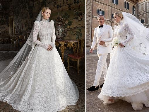 Lady Kitty Spencer's Dolce and Gabbana lace wedding gown took six months to make