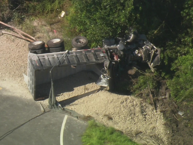 Driver Airlifted To Area Hospital After Dump Truck Overturns In SW Miami-Dade