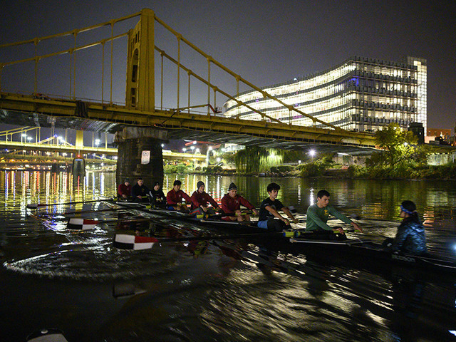 Students Enjoy Serenity, Challenge of Rowing Pittsburgh's Three Rivers