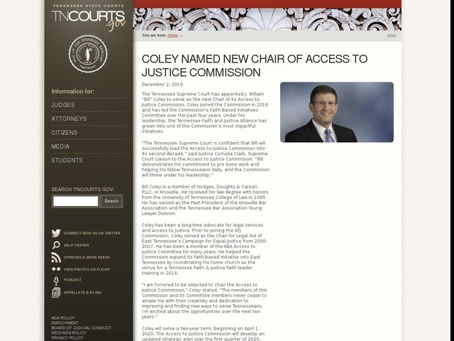 Coley Named New Chair of Access to Justice Commission