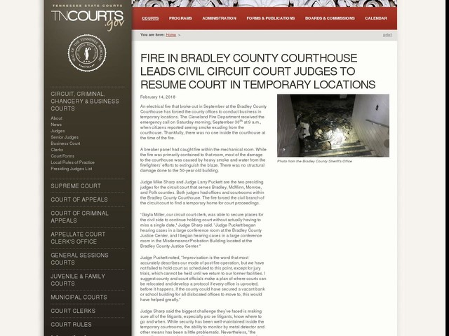 Fire in Bradley County Courthouse Leads Civil Circuit Court Judges to Resume Court in Temporary Locations