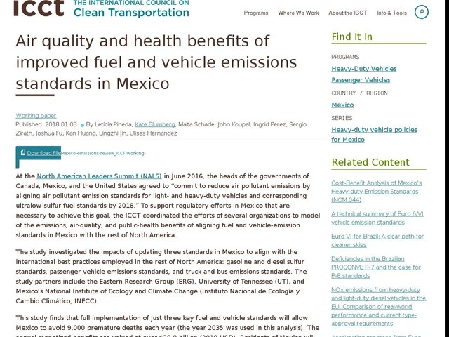 Air quality and health benefits of improved fuel and vehicle emissions standards in Mexico
