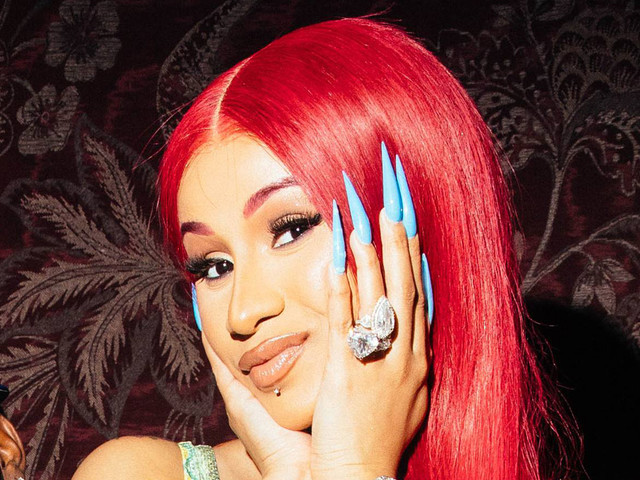 Cardi B Matches Colorful Sandals with Second-Skin Fish Scale Look & Hermès Handbags