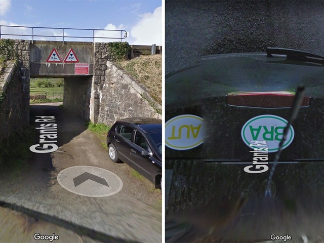This Google Street View Car Tried to Go Under an Overpass that Was Too Low for the Camera
