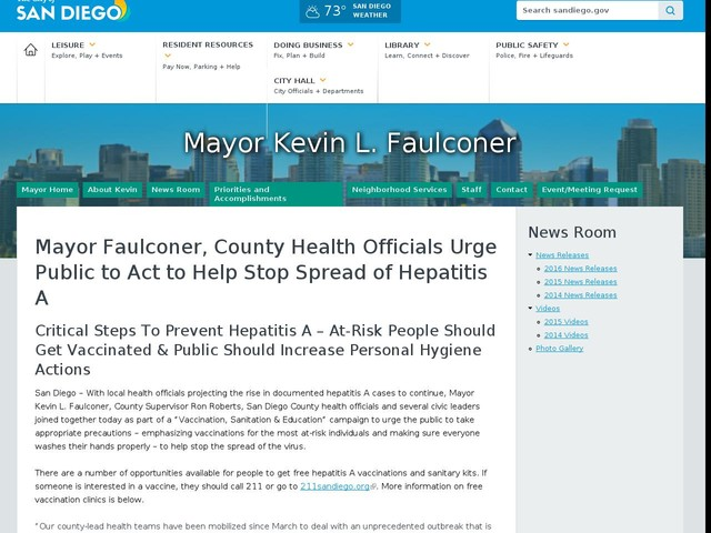 Mayor Faulconer, County Health Officials Urge Public to Act to Help Stop Spread of Hepatitis A
