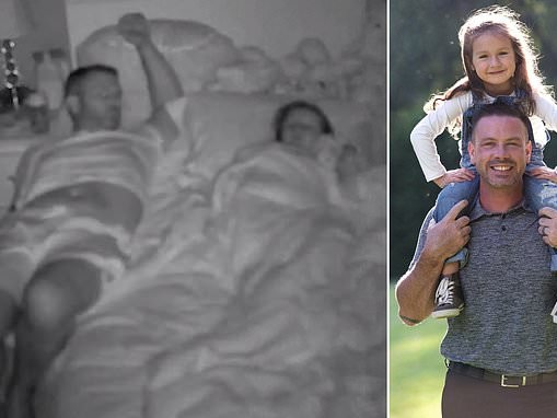 Devoted father slowly slides off his sleeping daughter's bed trying not to wake her