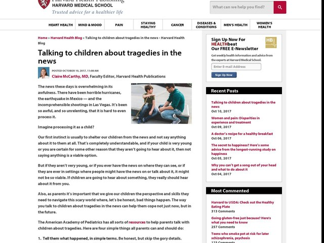 Talking to children about tragedies in the news