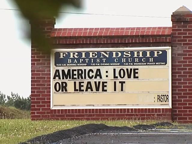 Friendship Baptist Church in Appomattox, Virginia, backs Trump with 'America: Love or Leave It' sign