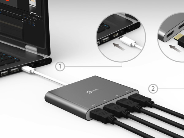 j5create's Innovative USB-C™ Quad-Display Adapter Gives You the Ability to Add 4 Additional HDMI™ Displays to Your Laptop