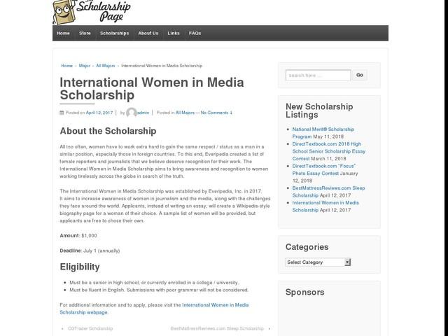 International Women in Media Scholarship
