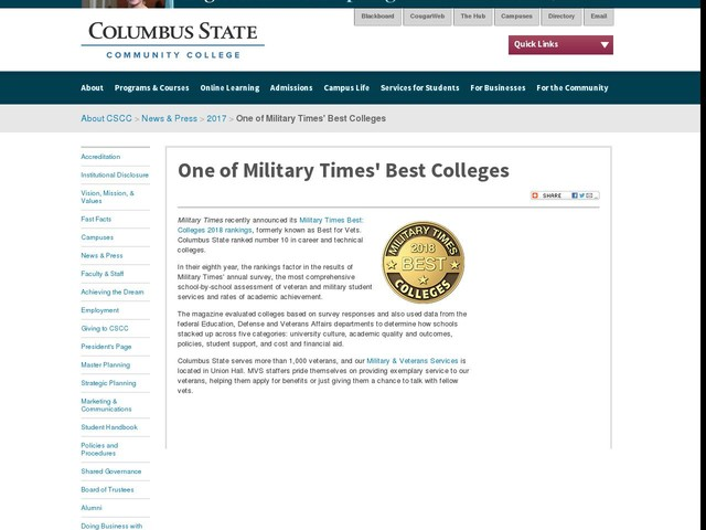 One of Military Times' Best Colleges