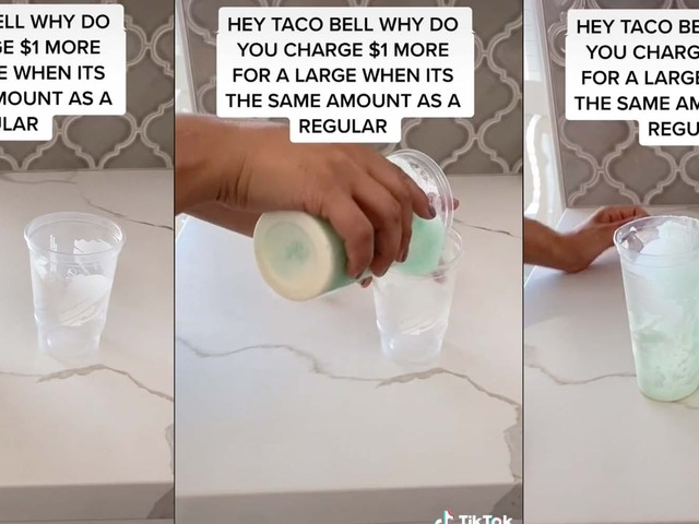 'I feel cheated': Viral TikTok allegedly exposes that regular and large drinks at Taco Bell are the same