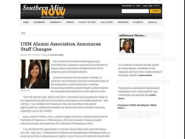 USM Alumni Association Announces Staff Changes