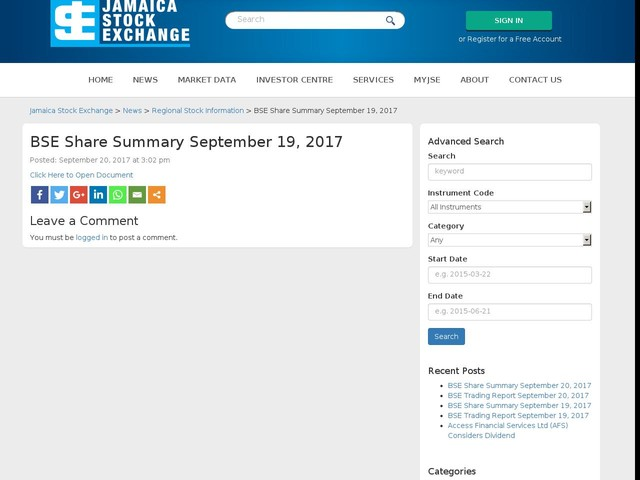 BSE Share Summary September 19, 2017