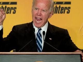 'Run Joe Run' signs greet Biden at firefighters' speech
