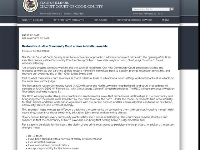 Restorative Justice Community Court arrives in North Lawndale