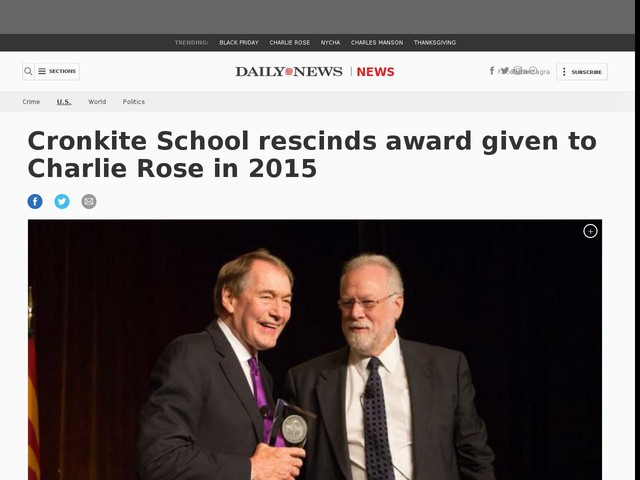 Cronkite School rescinds award given to Charlie Rose in 2015
