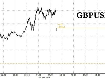 Sterling Slides After BOE Keeps Rates Unchanged, Sees Rising No-Deal Brexit Risk