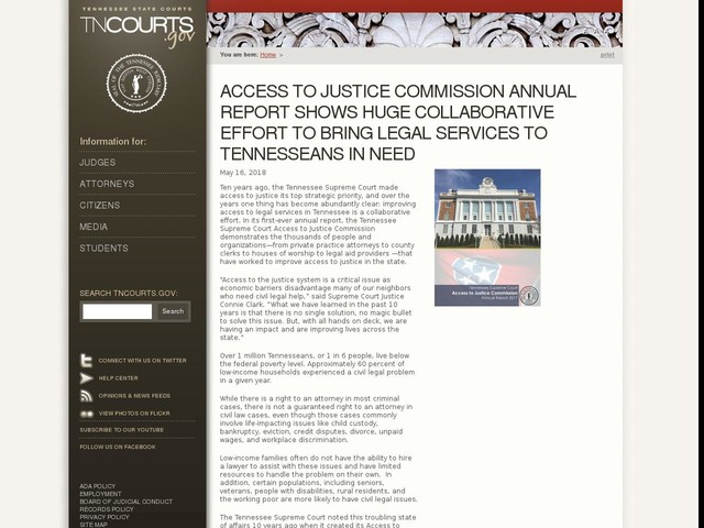 Access to Justice Commission Annual Report Shows Huge Collaborative Effort to Bring Legal Services to Tennesseans in Need