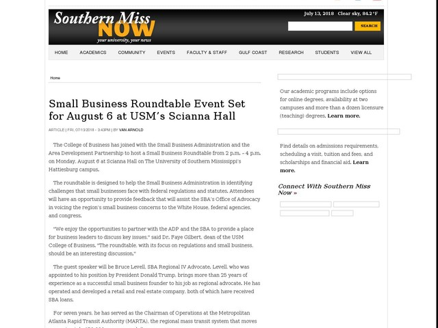 Small Business Roundtable Event Set for August 6 at USM's Scianna Hall