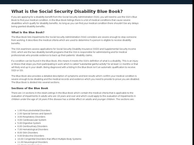 What is the Social Security Disability Blue Book?