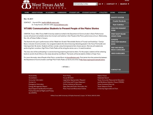 WTAMU Communication Students to Present People of the Plains Stories