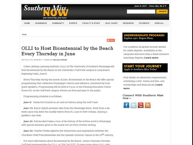 OLLI to Host Bicentennial by the Beach Every Thursday in June