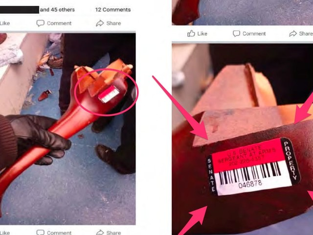 Florida man arrested after FBI says Facebook posts appear to show him entering the US Capitol, including an image of broken furniture with a 'US SENATE SERGEANT AT ARMS' sticker