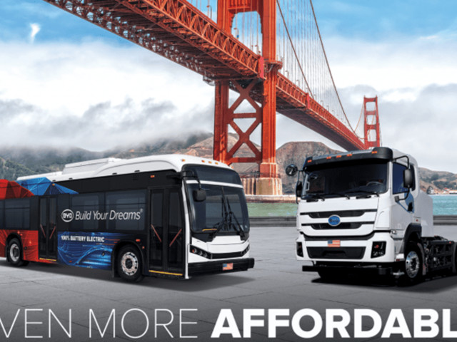 BYD Electric Buses, Trucks Eligible for $165 Million In HVIP Money