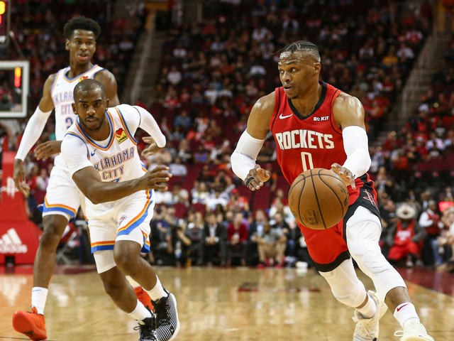 Chris Paul jokingly asks new Rockets star Russell Westbrook to leave Thunder locker room
