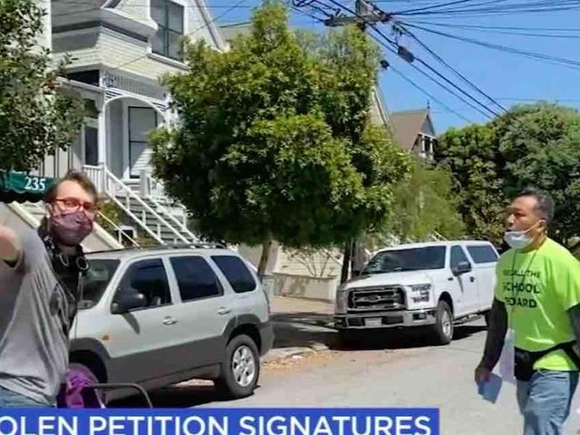 Woke culture warrior caught red-handed stealing signed petitions aimed at recalling leftist San Francisco school board members