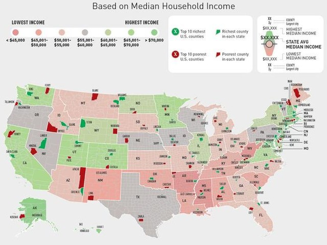 The Wealthiest And Poorest County In Every U.S. State