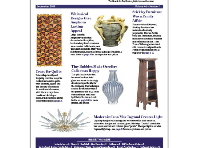 Kovels On Antiques & Collectibles September 2019 Newsletter...